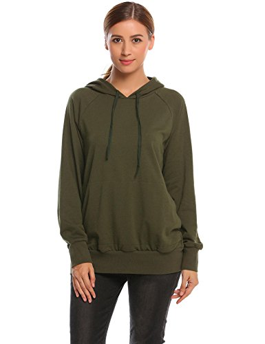 Damen Hoodie Kapuzenpullover Sweatshirt Langarm Casual Kapuzenpullis Schwarz Weinrot Green Pullover Grün