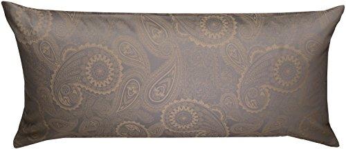 Mako Satin Damast Paisley Bettwäsche Garnitur Davos Kissenbezug 40x80 Gold braun - grau -