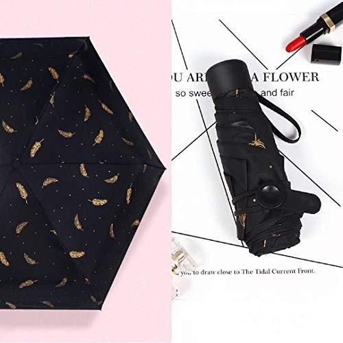 KJDFHKDAL Sonnenschirm, weiblich, leicht, Taschenschirm, Mini-Regenschirm, faltbar, doppelte Verwendung 50% de rabais sur la Plume Noire Cinq parapluie Mini Plume