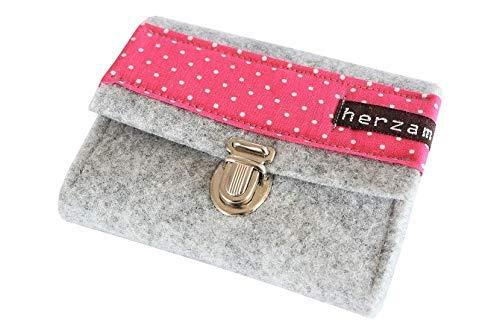 Portemonnaie Damen Gr.S Geldbörse Geldbeutel klein mini Wollfilz handmade -