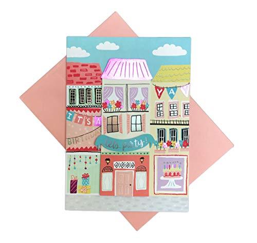 Let's Party Whimsy Scenic City Neighborhood Verzierte Gebäude 12,7 x 17,8 cm Geburtstagskarte mit Umschlag ()
