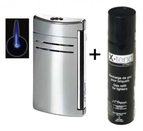 Set Dupont-Feuerzeug X-Tend Maxijet chrom glänzend inkl. Gas inkl. Lifestyle-Ambiente Tastingbogen
