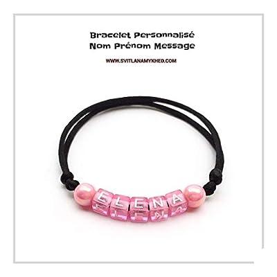 Bracelet ELENA personnalisé avec prénom (réversible) homme, femme, enfant, bébé, nouveau-né création sur mesure