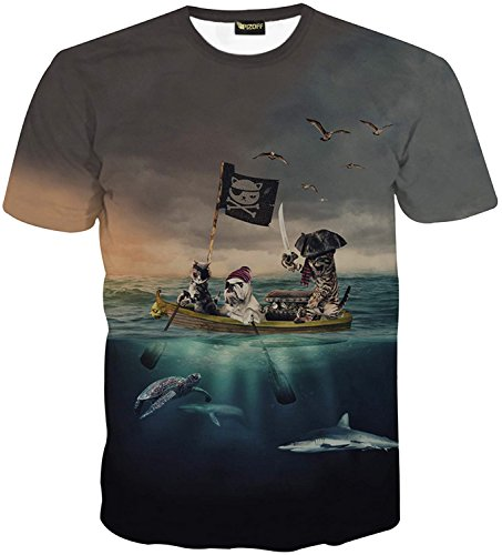 Pizoff Herren T-Shirt Kurzarm kreatives Design Katze Muster interessante 3D-Druck-Modus System Street Fashion Hip-Hop-Stil bequem Unisex Tops Y1625-74-L