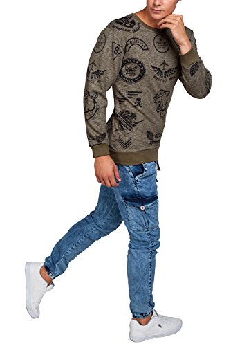 BOLF – Sweat-shirt – Manches longues – U-neck – MADMEXT 1717 – Homme Kaki