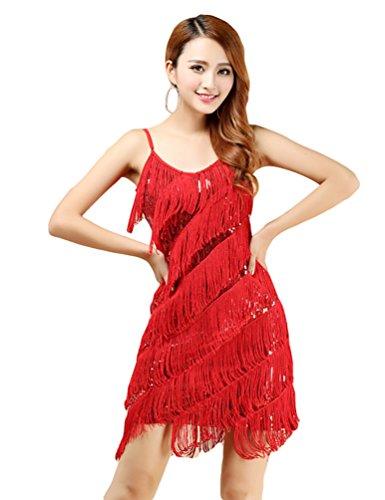 NiSeng Damen Latino Kleid Salsa LateinKleid Tanzkleid Turnierkleid Fransen Dancewear Rot
