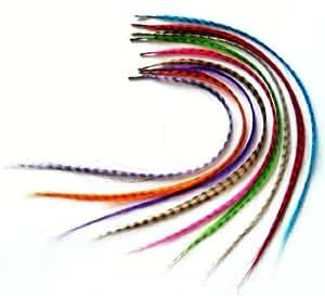 18pcs 16 pouces synthétiques Grizzly plume de coq d'extension de cheveux de plumes extensions avec des perles par Boolavard ® TM