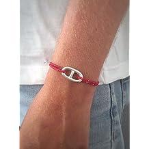 Bracelet maille marine sur Cordon en Argent 925 Bijou nautique Bracelet  porte bonheur Bracelet marin 22519edcef6