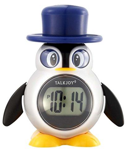 PREMIUM Sprechende Kinderuhr Digitale LCD Uhr Tischuhr Zeitansage Sprachfunktion Pinguin Wecker Kinderwecker Blindenuhr mit Uhrzeit lesen lernen Sprechfunktion Schulwecker Mädchen...