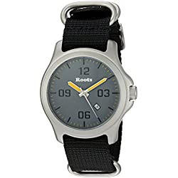 Roots Men's 'Core' Quartz Stainless Steel and Nylon Casual Watch, Color:Black (Model: 1R-LF400GY7B)
