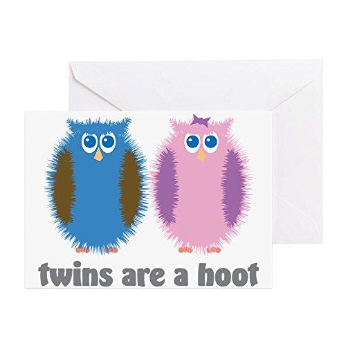 CafePress–Twin Eulen blau pink–Grußkarte, Note Karte, Geburtstagskarte, innen blanko, glänzend