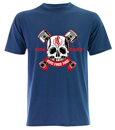 PALLAS Unisex's Motorcycle Club Ride Hard Vintage T Shirt Blue