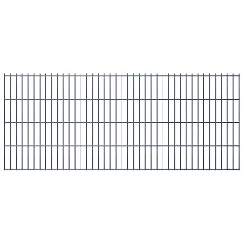 Festnight- Metall Gartenzaun 2008x830 mm Grau | Doppelstabmattenzaun Zaunpaneel komplett Stabmattenzaun Gitterzaun
