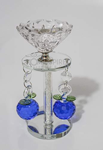 Vetro cristallo tagliato portalumino con cristalli swarovski a pilastro circa 15cm new home, thanks giving, ogni occasione regalo di nozze party night tavola casa decorazione, blue
