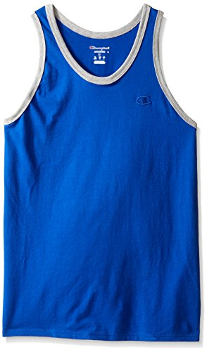 Champion Men's Classic Jersey Ringer Tank Top, Surf The Web/Oxford Gray Heather, 2XL