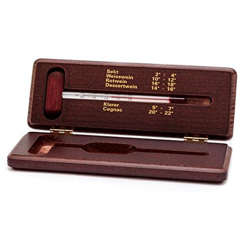 Weinthermometer im Holzetui mahagoni lackiert . Wein / Schnaps / Cognac / Sekt Thermometer Analog im Holz Etui