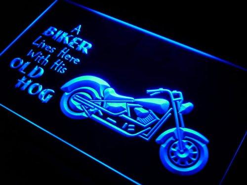ADV PRO j041-b Biker Lives here with his old Hog Neon Sign Barlicht Neonlicht Lichtwerbung -