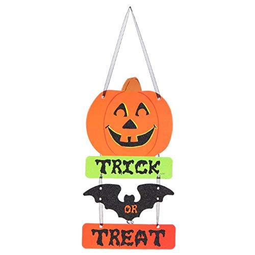 (EROSPA® - Halloween Tür-Schild Trick Or Treat - Süßes oder Saures Tür-Anhänger Fensterschild Kürbis Fledermaus Dekoration Wanddeko Party Türdeko Hängeschild schwarz orange grün)