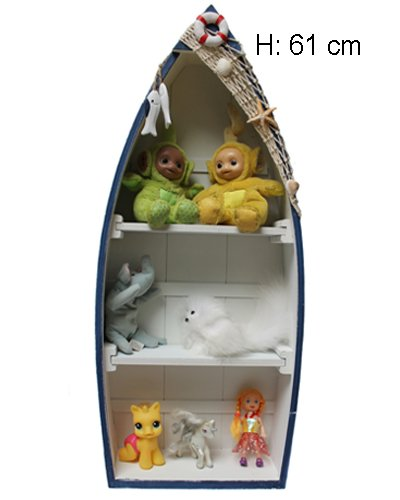Rega Boot Form Schiff Bootregal Fischernetz Muscheln Maritime Deko H:61 cm