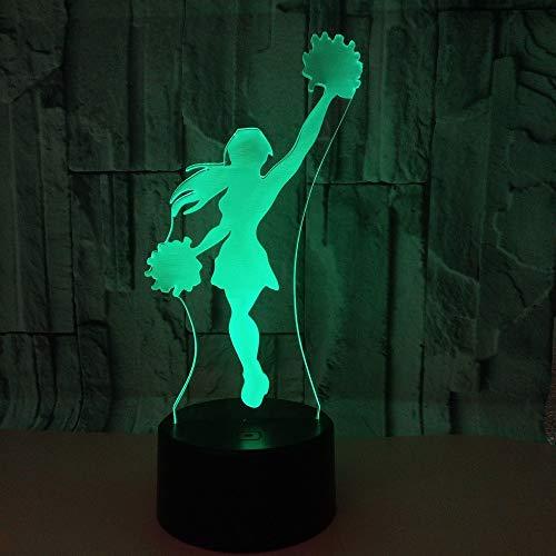 3D Optical Illusion Lampe 7 Farben Usb Touch Schalter Nachtlicht Cheerleader Geburtstag Valentinstag Schlarfzimmer Dekoration Für Kinder Kinder Weihnachts Geschenk