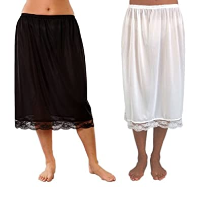 2 Pack Womens/Ladies Underskirts 100% Polyester With Lace, Various Colours & Sizes