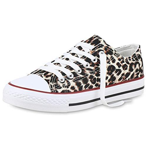 SCARPE VITA Damen Sneaker Low Basic Turnschuhe Freizeit Schuhe Schnürer Flats 173888 Leopard Weiss 39