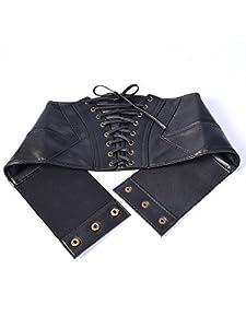 Elastische Taille Gürtel Gefesselt Korsett Cinch Mattenketten mit Druckknopf, Schwarz