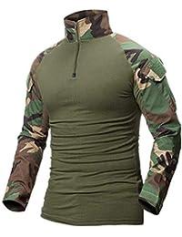 ShallGood Homme Chemises Combat Militaire Airsoft BDU Shirt Tenue  Camouflage Uniforme Tactique Séchage Rapide avec Poches 4a8146c654a