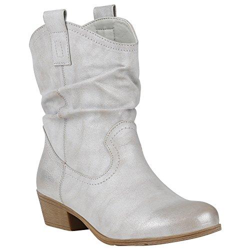 Stiefelparadies Bequeme Damen Schuhe Stiefeletten Cowboy Boots Western 150456 Hellgrau 39 Flandell (Schuh Cowgirl Boot Western)