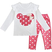 iEFiEL Newborn Baby Girls' Cartoon Polka Dots Pajamas Outfits Long Sleeves T-Shirt with Pants 2PCS Sleepsuit Set