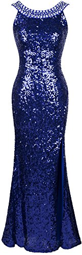 Angel-fashions Damen Rundhals Perlstickerei Paillette Ruckenfrei Schlitz Party Kleid Large Blau Blaues Pailletten Kleid