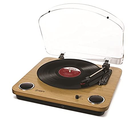ION Audio Max LP Platine Vinyle à Entraînement par Courroie avec Haut-Parleurs Intégrés et Convertisseur USB - Finition Bois