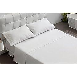 Burrito Blanco Juego de Sábanas Blancas Hotel Lisas de Algodón 100% para Cama de Matrimonio de 150x190 cm hasta 150x200 cm (Disponible en más Medidas)