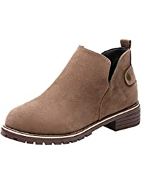 ALIKEEY Zapatos De Punta Redonda De Mujer Vintage Botines Planos Botas De Gamuza Color Sólido Boots Snipe Callaghan Lacoste…