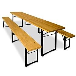 Deuba Bierzeltgarnitur 220cm klappbar aus Holz - 2x Sitzbank 1x Tisch | leicht zu transportieren - Festzeltgarnitur Biertischgarnitur Sitzgruppe Gartenmöbel Set