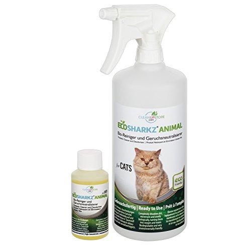Produit Nettoyant et Eliminateur d'odeur Bio pour Chats Ecosharkz Animal - Spray désodorisant anti urine pour intérieurs avec chat et litière - Concentré de 50ml - jusqu'à 2L de solution nettoyante