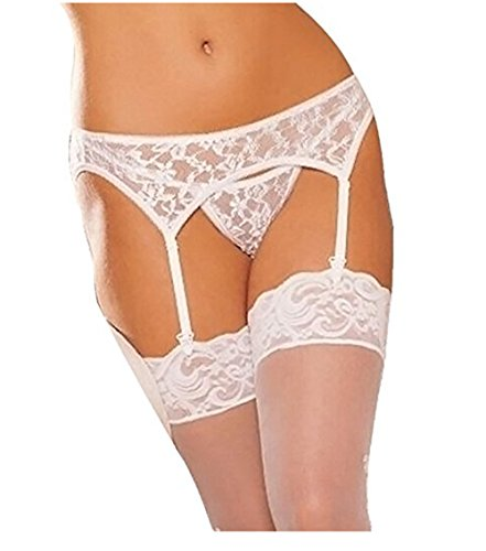 Freessom Femme Ensemble 3pcs Bas Autofixant Sexy Resille Porte-jarretelles Avec G-Strings en Dentelle Lace Floral Taille Unique Ajustable Lingerie Pas Cher (Blanc)