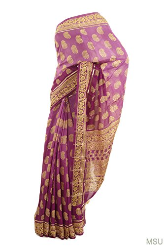 Mysore Saree Udyog - Saree With Blouse pretty crepe pure silk burgundy...