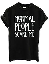 SKY ♥♥Las personas normales me asustan las mujeres Faldas cortas de la camiseta del algodón de la manga corta (Negro, M)