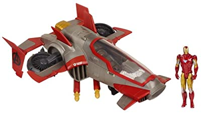 Hasbro 37727 Los Vengadores - Figura de Iron Man con avión de combate de Hasbro