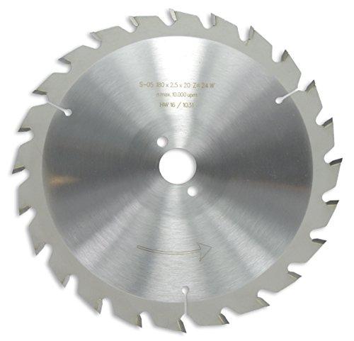 HM / HW Sägeblatt mit Nebenlöchern und Wechselzahn 180 x 20 mm mit 24 Zähnen Made in Germany (GE16)