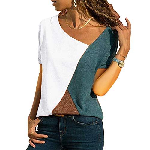 Asymmetrische Jeans-rock (UPhitnis OberteileDamen Tunika Tops T-Shirt Bluse Damen Casual Patchwork Farbblock Oberteil Asymmetrischer V-Ausschnitt Tunika T-Shirt)