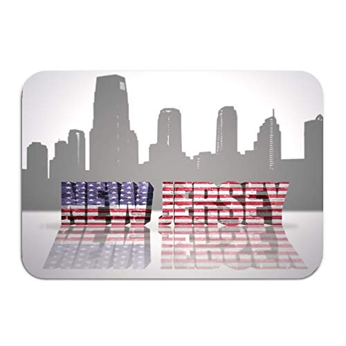 zexuandiy Area Rugs Modern Soft Non-Slip Floor Mats Doormat Carpet for Bedroom 23.6x15.7 View New Jersey City Word national Flag usa Near s
