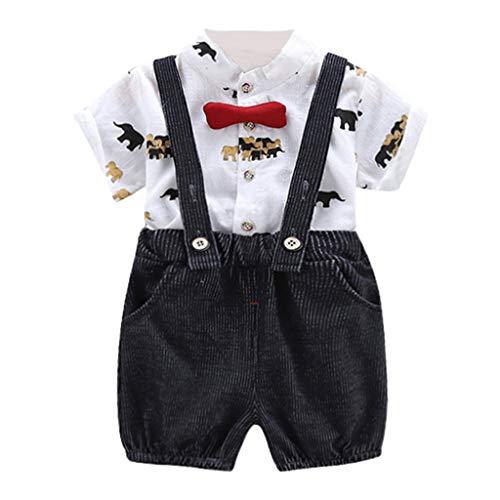 Cuteelf Kinder Kurzarm Elefant Lätzchen Set Kind Baby Mädchen Cartoon T-Shirt Top Sling Shorts Arbeitskleidung Kleidung Set Cord Lose Mode Lässig Little Gentleman