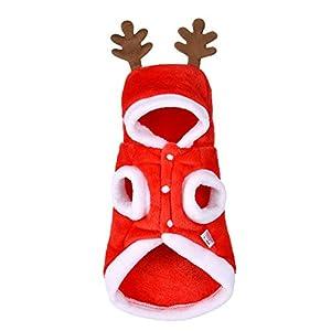 Elisona-Noël Vêtements pour Chien,Sapin de Noël motif mignon bois à capuche Animaux Costume vêtements,vêtements pour animaux de compagnie pour chien chat Santa Noël décorations de fête