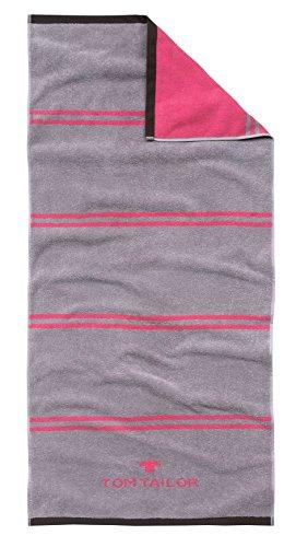 Tom Tailor l Sporttuch l 70x150cm l Badetuch l Strandtuch Grau Pink Maschinenwäsche bei 60° C, trocknergeeignet