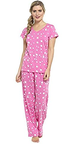 Ladies Printed Jersey Cotton Pyjamas Set Pink