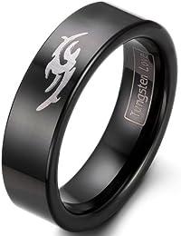 Ajuste cómodo JewelryWe algodón Negro Tungsteno anillo de compromiso con valor de diseño grabado con láser