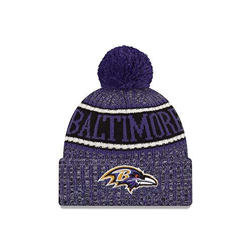 New Era Baltimore Ravens Beanie NFL 2018 Sideline Sport Reverse Knit Purple/Black - One-Size