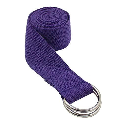 Zedtom, cintura da yoga da 185 cmx 4cm, in cotone, di colore nero, Lila